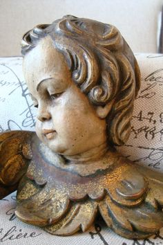 RESERVED for TACEY: Antique Carved Wood Cherub por edithandevelyn