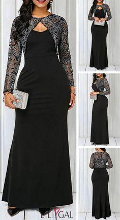 Long Sleeve Sheer Coat and Black V Neck Dress Trendy Dresses, Elegant Dresses, Casual Dresses, African Fashion Dresses, African Dress, Classy Dress, Classy Outfits, Mode Kimono, Dress Brokat