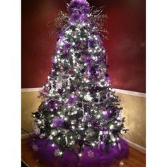 Silver christmas ❤ liked on Polyvore featuring home, home decor, holiday decorations, silver home accessories, purple home accessories, silver home decor, christmas holiday decor and purple home decor