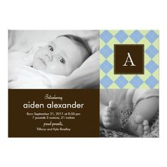Chic Argyle Baby Boy Birth Announcement Personalized Invite! Make your own invites more personal to celebrate the arrival of a new baby. Just add your photos and words to this great design.