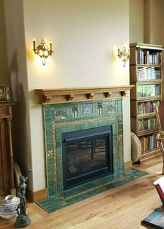Fireplace Mantel Floating Shelf Vintage Craftsman Finish – Victorian Design / We Are Very Passionate About Our Satisfaction Rating! Fireplace Mantle Headboard, Craftsman Fireplace Mantels, Tall Fireplace, Fireplace Surrounds, Fireplace Design, Fireplace Tiles, Basement Fireplace, Craftsman Living Rooms, Craftsman Tile