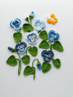 Crochet Applique Pansy Viola Flowers and Leaves от CraftsbySigita