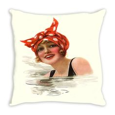 Throw Pillow.  Beautiful 1920's Vintage Swimmer