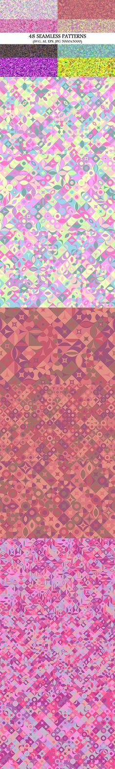 48 Seamless Geometrical Patterns #MulticolorBackground #multicoloredgraphics #seamlesspatterns #SeamlessPattern #BackgroundGraphics #BackgroundDesign #background #mosaic #background #PremiumVectorGraphicDesign #MosaicGraphics #BackgroundCollections #geometric #BackgroundGraphic #mosaicbackgrounds #BackgroundGraphics #SeamlessPatterns #PremiumVectors #PremiumVectorPatterns