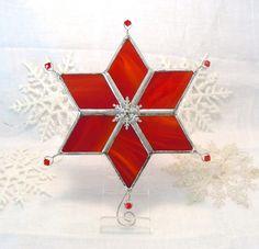 Crimson Christmas Snowflake Star by MoreThanColors on Etsy, $28.50