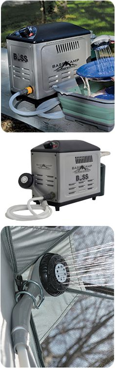 Portable, compact water heater is ideal for use while camping, tailgating, off-roading or trail riding. No AC or DC power needed. All you need is a water source. The 12,000 BTU water heater uses disposable propane cylinders (sold separately). The pump runs on D-cell batteries (sold separately). Matchless electronic pulse ignition produces hot water at the flip of a switch.