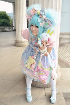 Japanese Cosplay kawaii lolita I would love this cute outfit! Neon Grunge, Space Grunge - everything a little off center. Japanese Streets, Japanese Street Fashion, Tokyo Fashion, Harajuku Fashion, Kawaii Fashion, Lolita Fashion, Cute Fashion, Girl Fashion, Harajuku Style
