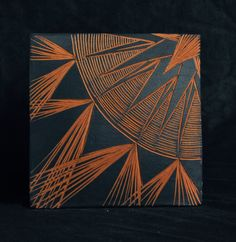 """Decorative Abstract 6"""" Sgraffito carved Ceramic tile with wire mounting for wall by NatalieBlakeCeramics on Etsy"""