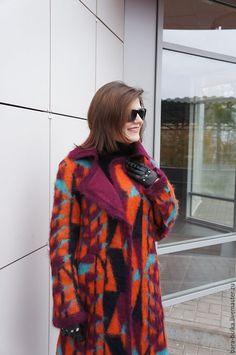 """Купить Пальто """"Геометрия-флора"""" - комбинированный, геометрия, пальто из мохера, демисезонное пальто"""