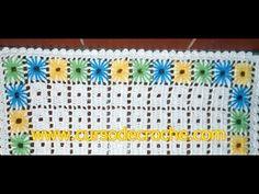 Edinir-Crochê: Tapete em crochê bordado com o ponto ilhós
