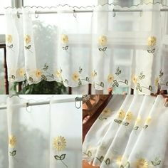 85*180cm Pastoral Style Fresh Embroidery Daisy Kitchen Cabinet Curtains  Coffee Curtain Small