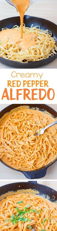 This has become one of our favorite dinners, and the creamy sauce is delicious. … This has become one of our favorite dinners, and the creamy sauce is delicious. The vegan pasta recipe for red pepper alfredo is recommended! Vegetarian Cooking, Vegetarian Recipes, Cooking Recipes, Healthy Recipes, Pasta Recipes, Cooking Tips, Creamy Pasta Dishes, Vegan Pasta, Creamy Sauce