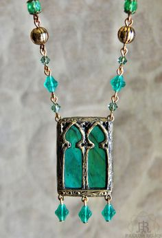 Ophelia Twin Window  Stained Glass Necklace by ParrishRelics