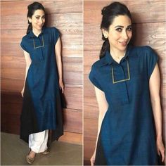 Outfit - Jewelry - Styled by - Dress Indian Style, Indian Dresses, Indian Outfits, Kurta Designs Women, Blouse Designs, Churidar Designs, Kaftan, Kurta Style, Looks Jeans