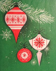 I remember seeing one of these cards! Crazy!! mid century Christmas ornaments card