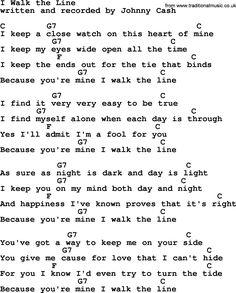 Johnny Cash song I Walk The Line, lyrics and chords