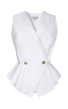 Shop Pleated Graduated Peplum Vest by A La Russe for Preorder on Moda Operandi Blouse Styles, Blouse Designs, Work Attire, Mode Style, Casual Tops, African Fashion, Shirt Blouses, Blouses For Women, Work Wear