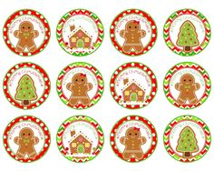 Christmas Cupcake/Food Toppers - 1 and 2 Circles - Gift Tags - Printable Instant Download Great for Cupcake toppers, Christmas gifts or treat