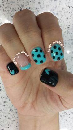 Teal, heart, polka dot nails