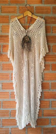 Boho Beige Long Crochet W/ Fringe Maxi Dress. 100 Percent Handmade. Elegant and Beautiful. Soft and Comfortable Stretchable Fabric. New!