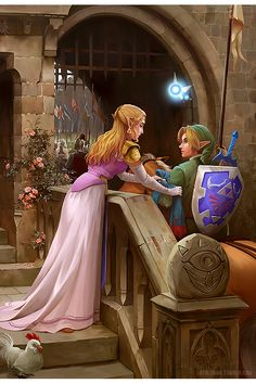 "lothlenan: ""Even before doing my previous Zelda painting, I already knew that I wanted to do this. It's themed Ocarina of Time, however there are one or two easter eggs hanging around. ;) I struggle..."