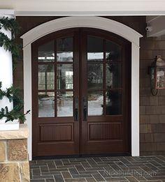 Arched Mahogany Exterior Double Door with Clear Glass in Michigan Double Front Entry Doors, Double Doors Exterior, Rustic Doors, Wooden Doors, Craftsman Style Exterior, Door Picture, House Doors, Patio Doors, Glass Door
