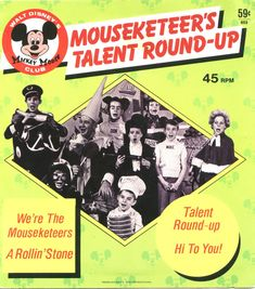 Mouseketeers Talent Round Up Day record cover, 45 rpm Walt Disney Mickey Mouse, Mickey Mouse Club, Disney Music, Disney Fun, Disney Stuff, Rollin Stones, Shape Books, Vintage Mickey, Cartoon Tv