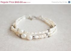 10 SALE White Pearls Sterling Silver Multi Strand by MYGDesigns, $55.80