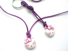 Kette mit Katzen-Anhänger und Schlüsselanhänger von Modeschmuckstübchen Andrea auf DaWanda.com - passen in fast jeden Adventskalender