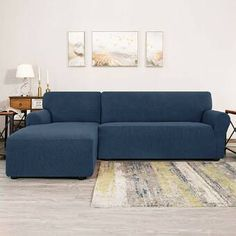 Ebern Designs L-Shaped Right 2 Piece Box Cushion Sofa Slipcover Set & Reviews | Wayfair Sofas, Sectional Sofa, Furniture Covers, Home Furniture, Canapé Angle Convertible, L Shaped Sofa, Box Cushion, Couch Covers, Cushions On Sofa