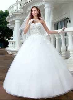 Sweetheart Tulle Satin Winter Wedding Dresses