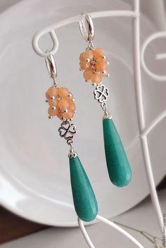 """Купить Серьги """"Абрикос - тёмно-бирюзовый, абрикосовый, персиковый, нежное украшение, длинные серьги"""