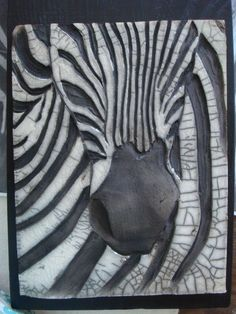 ceramic raku zebra tile / would love to be able to make one like this :D Pottery Animals, Ceramic Animals, Clay Tiles, Ceramic Clay, Raku Pottery, Pottery Art, Sculptures Céramiques, Sculpture Art, Ceramic Techniques