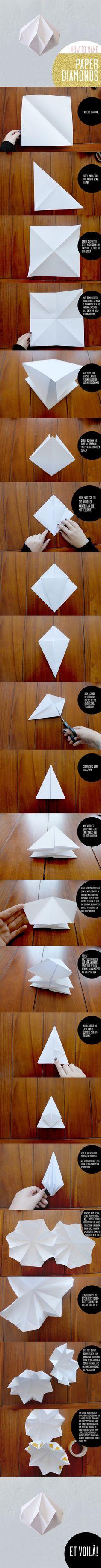 Diamant en origami ann-meer.blogspot.com (Diy Bracelets) #OrigamiLamp
