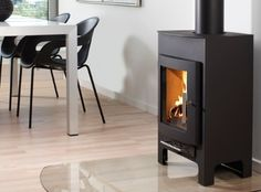 Westfires Uniq 17 is a compact modern stove that still produces a useful 5 kW's. Modern Stoves, Stove Accessories, Wood Burner, Home Reno, Hearth, New Homes, Sweet Home, Home Appliances, Living Room