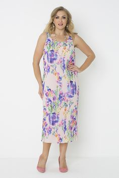 5732 Watercolour Crush Dress - Beautiful 'Watercolour' print dress. Ideal for a summer wedding. Wear with matching print jacket 5084 to complete the look. Contents: poly georgette.