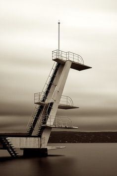 The diving tower at Ingierstrand in Oslo, built in Exposure: 49 seconds Filter: B+W ND 110 Cave Diving, Scuba Diving, High Diving, Old Buildings, Abandoned Buildings, Lookout Tower, Diving Board, Tower Design, Cheap Pendant Lights