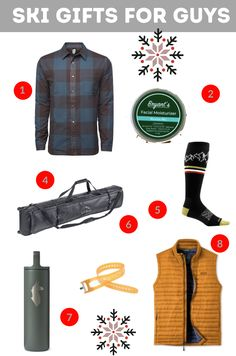 Our favorite skiing and riding gear for men. Ideas to keep them warm and outdoors all winter long. #ski