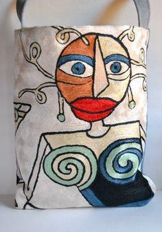 Handmade Silk Large Bag – Picasso Design