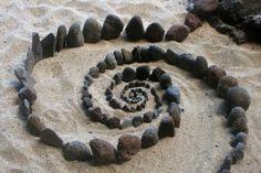 ephemeral stone spiral at Kalalau Beach, Kauai