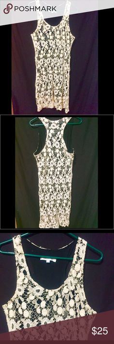 ❤NWOT.Large GORGEOUS Crocheted 2 Layered Dress NEVER WORN. Cream Crotched Dress W/ Black Tank Dress attached as Lining. Size Large Sleeveless Sundress. Crotchet: 100% Cotton Lining:65% Polyester & 35% Rayon Charming Charlie Dresses