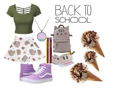 """""""#PVxPusheen"""" by itsciaa ❤ liked on Polyvore featuring Pusheen, LE3NO, Vans, contestentry and PVxPusheen"""