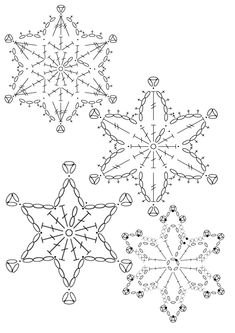 15 crochet snowflakes patterns- free patterns – Turcoaz cu Vanilie - Her Crochet Free Crochet Snowflake Patterns, Crochet Motif Patterns, Crochet Stars, Christmas Crochet Patterns, Holiday Crochet, Crochet Snowflakes, Christmas Snowflakes, Christmas Knitting, Thread Crochet