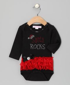 Take a look at the Black & Red Rhinestone 'Santa Rocks' Ruffle Bodysuit - Infant on #zulily today!