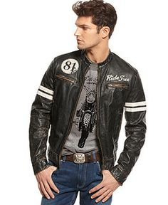 Shop Mens Coats and Mens Jackets - Macy's - the biker look. Put over a tee and jeans (don't tuck or do, just don't wear that belt buckle or those jeans. I like yours better). Always a fun look. A motorcycle jacket does SOMETHING for everyone. That's why I love mine. :)