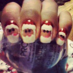 Santa nails, done last night :) ♡ Santa Nails, Nail Artist, Nail Care, My Nails, My Design, Night, Nail Manicure, Nail Repair