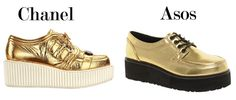 Creepers doradas de Chanel VS Asos