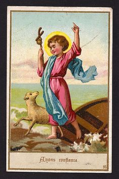 Antique French Holy Card Confidence Lovely Old by Divinegiftshop