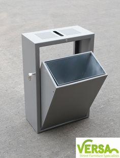 Tipper mild steel litter bin by Versa. Designed to be an easy to empty style bin, simply tips open when unlocked to access the liner to empty the bin.  www.versauk.co.uk
