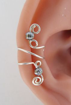 Sterling Ear Cuff Wrap Non Pierced Beaded by RazzleDazzleMe,